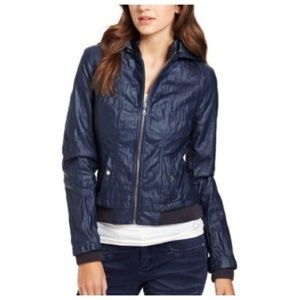 { guess } hooded faux leather blue bomber jacket